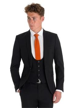 High Quality One Button black Groom Tuxedos Notch Lapel Groomsmen Best Man Mens Wedding Suit (Jacket+Pants+Vest+Tie) W:228
