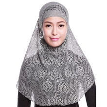 2 Pieces Head Neck Cover Muslims Women\s Hijabs 2018 Lace Under Scarf Hat Cap Inner Women + Outer Cloak