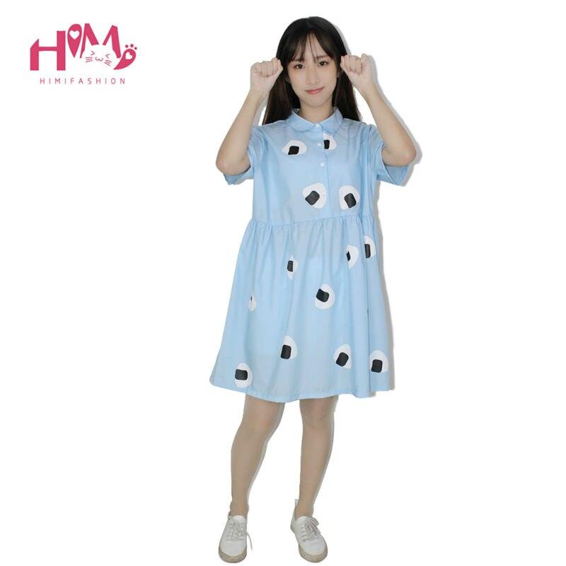 Japan Style Womens Summer Dress Harajuku Young girl Air blue Doll Collar Laver Rice Vegetable Print Princess Cotton Dresses 2