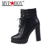 MVP BOY 2017 New Women Black White Red Ankle Boots Motorcycle High Heel Double Buckle Gothic Punk Platforms Botas Mujer