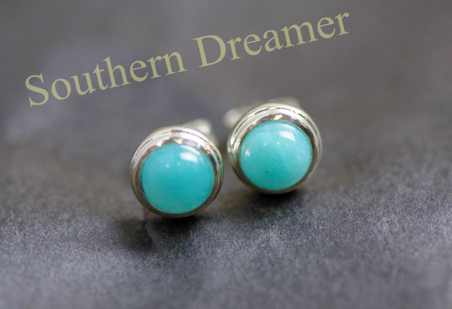 Hot Sale Trendy Elegant Simple Round Amazonite Small Sterling Silver Mens Stud Earrings For Gift Free Shipping