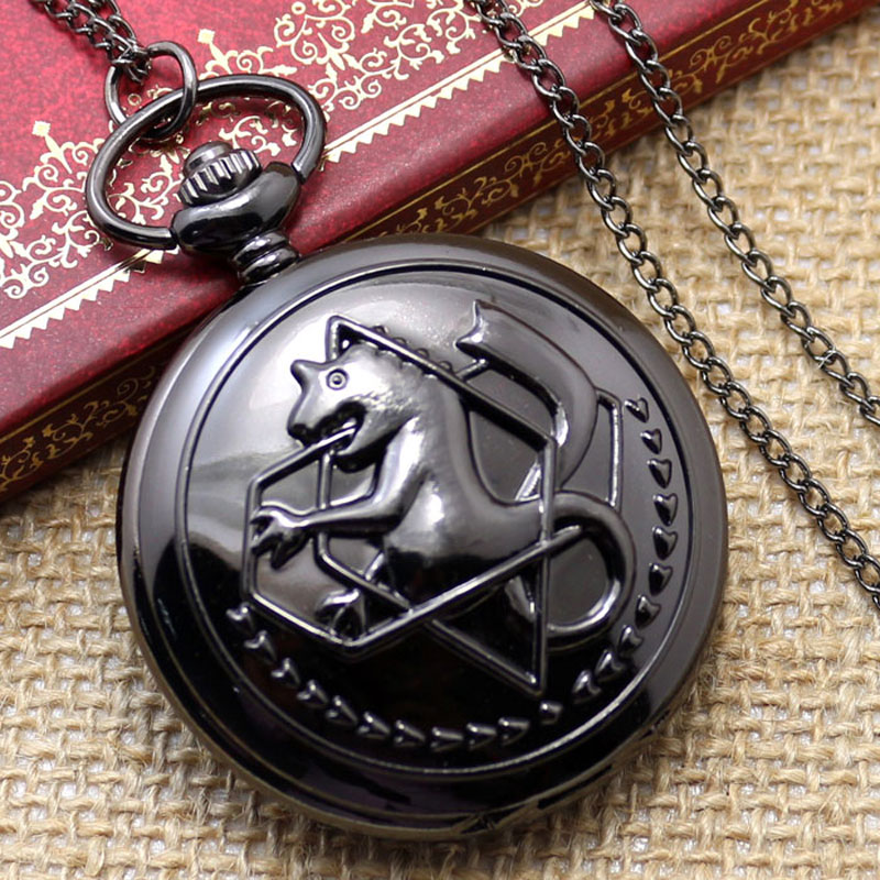 New Dark Tone Fullmental Alchemist Pocket Watch Cosplay Edward Elric With Chain Anime Boys Gift P421