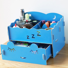 2017 Cute Storage Box Organizer Wooden Creative Cosmetic Box Manual Installation Storage Rack