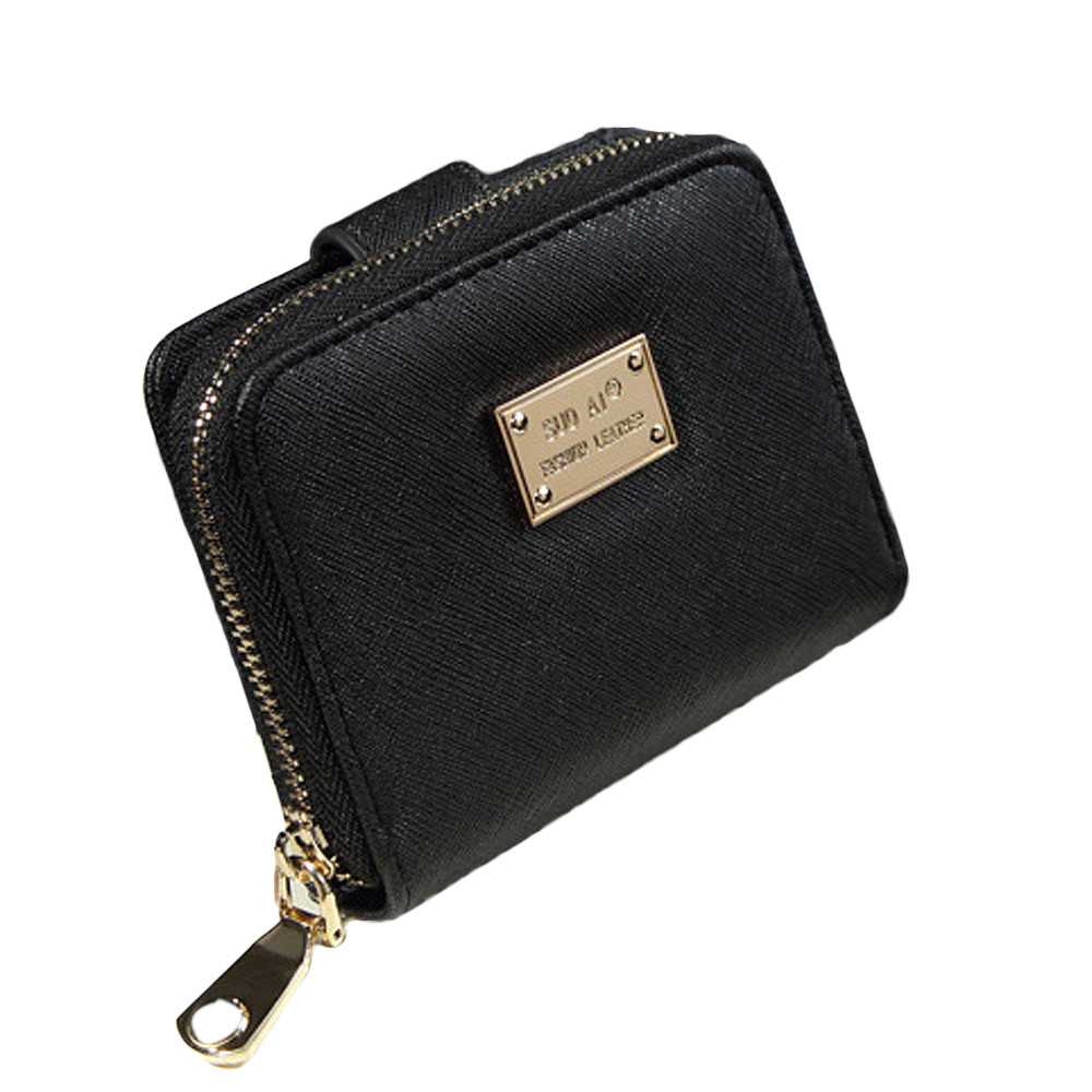 New Brand 2017 Fashion Clutch Wallet Lady Women Leather Purse Short Small Bag For Womens Solid Color Card Holder Carteras Mujer