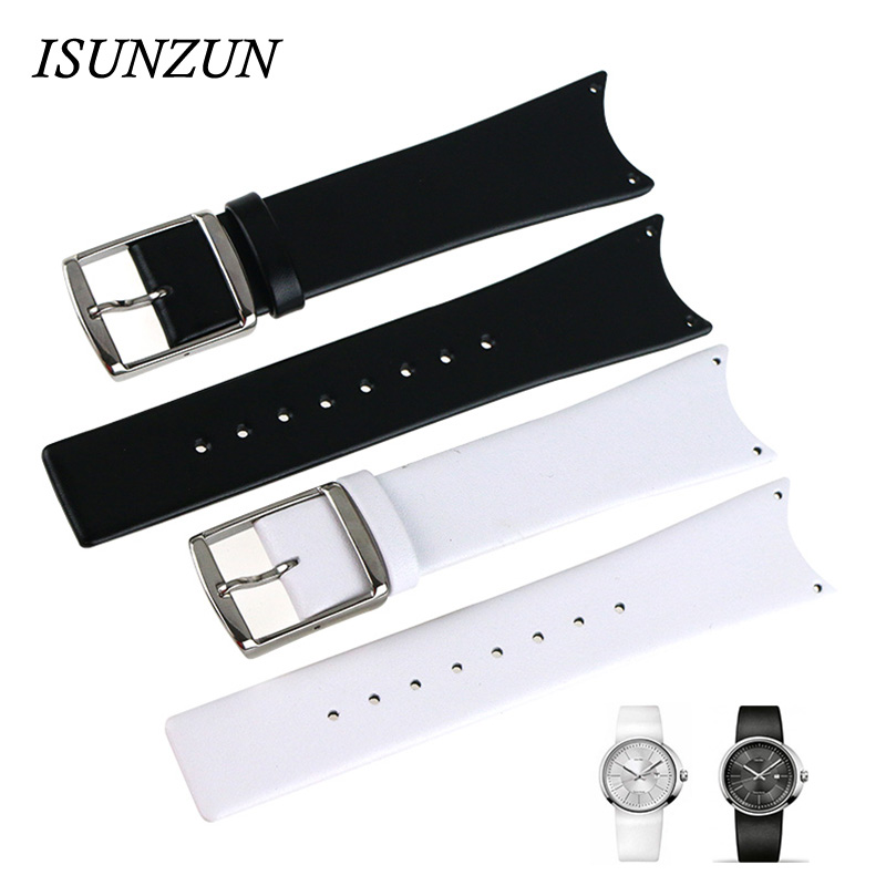 ФОТО ISUNZUN Watchband For CK KOH23100/K0H23307 First Layer Genuine Leather Watch Band K0H23101/KOV231 Women And Men Watch Strap