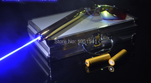Sale Strong Full brass housing 100000mw 100Watt 450nm blue laser pointers burning match/dry wood/candle/cigarette+Glasses+Charger+box