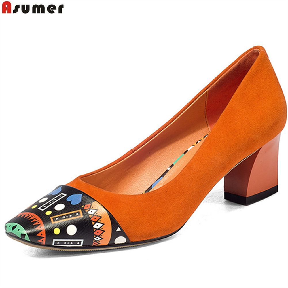 ASUMER black orange square toe shallow ladies pumps thick heel spring auutmn women suede leather high