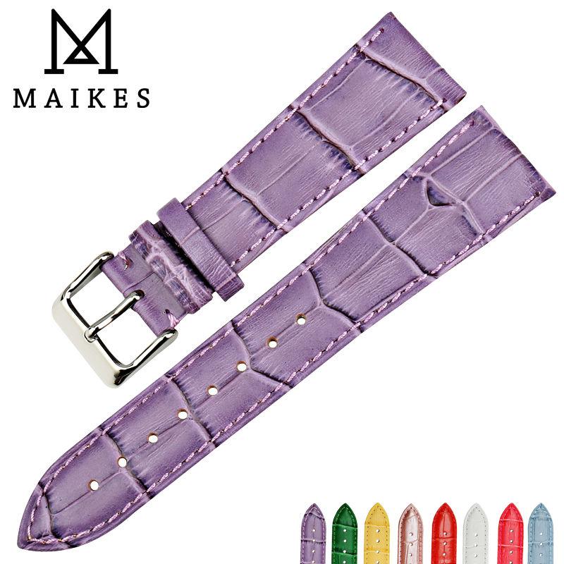 MAIKES New design genuine leather watch band fashion watch strap watch bracelet purple watchbands for dw daniel wellington