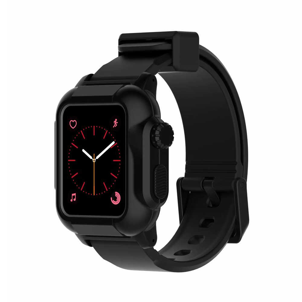 cheap for discount cd21c e9e92 Waterproof case+Strap for Apple Watch band 42mm/38mm iwatch band series 3 2  bracelet Full Silicone Watch correa+Protective cover