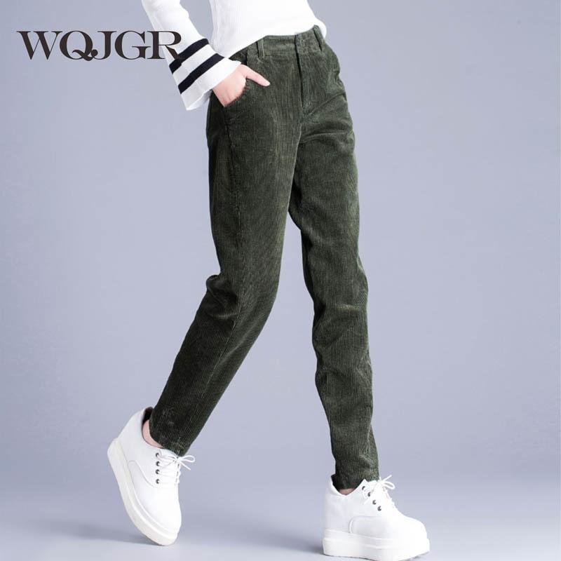 WQJGR Woman Corduroy Haren Radish Leisure Wild Slim fashion personality feet pants