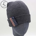 Knitted Hats For Women American Flag Patch Beanies Cap 2016 Winter Hat Unisex Striped Solid Hat Gorros Gift For Family 6901