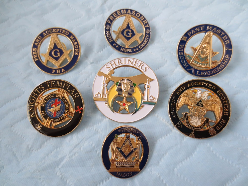 wholesale 7 different style of Masonic Lapel Pins Badge Mason Freemason size is from 2.4cm to 3.7cm