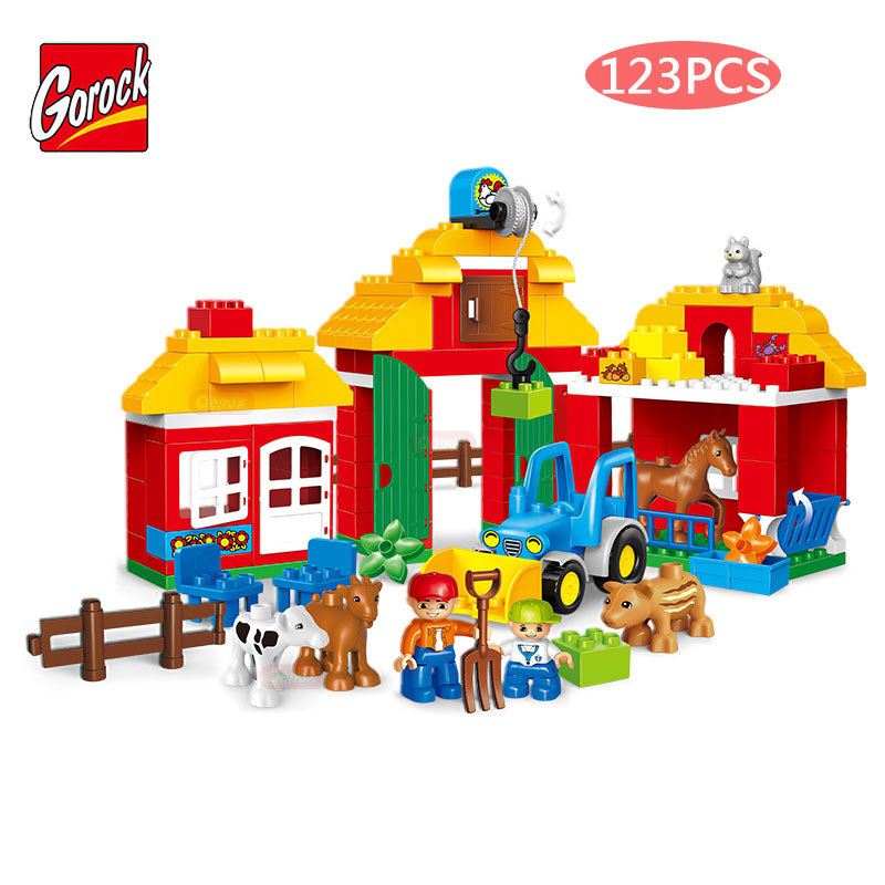 GOROCK 123PCS/SET Large Particles Happy Farm Sheep Horse Cow Squirrel Animals Paradise Building Block Brick Toy Compatible Duplo umeile brand farm life series large particles diy brick building big blocks kids education toy diy block compatible with duplo