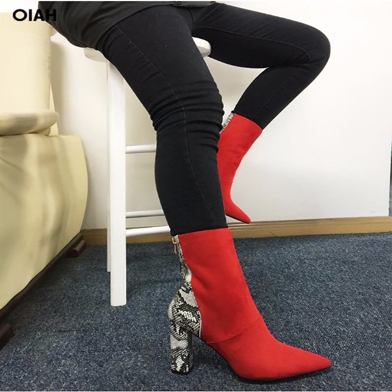 Faux Suede Red Sexy Snakeskin Print Ankle Boots for Women Shoes Pointed Toe High Square Heel Botas Mujer Botte Femme цена