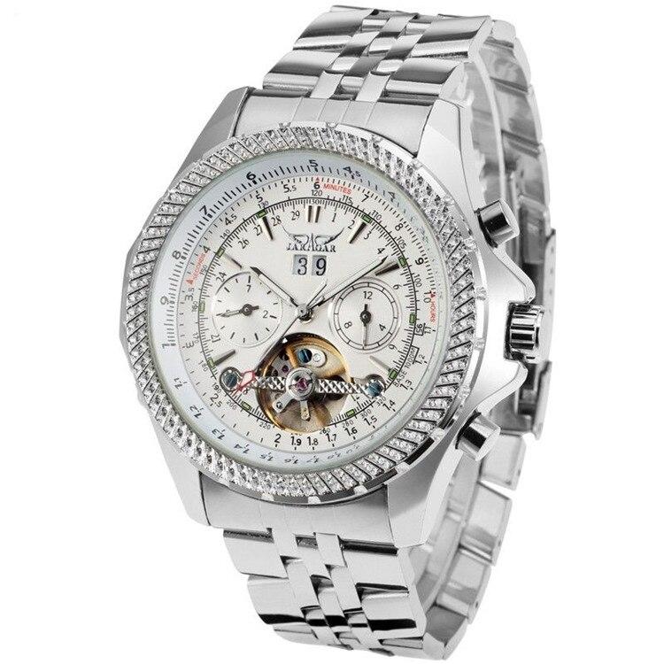 Jaragar herrenuhren tourbillon männliche uhr edelstahl band mechanische armbanduhr horloges mannen