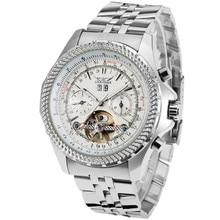JARAGAR Mens Relojes Tourbillon Reloj Masculino Banda de Acero Inoxidable Reloj de Pulsera Mecánico Horloges Mannen