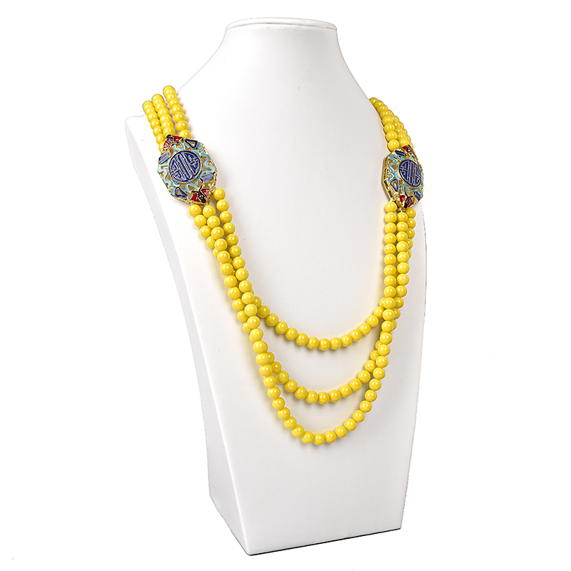 Shining Yellow Imitation Pearls and Synthetic Glass Crystal Beads 8mm Size For Making DIY jewel Necklace 28 32inch H146