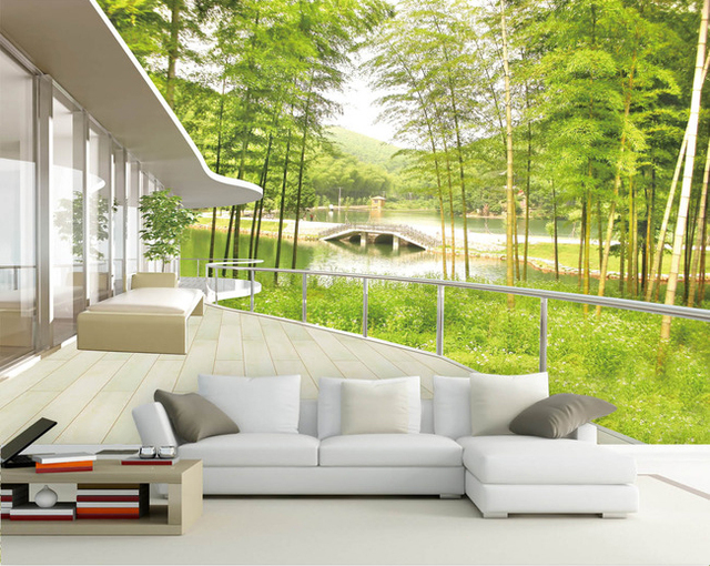 Wholesale 3d wall mural paper with outdoor scenery bamboo forest for