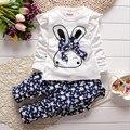 New Kids baby girl Set estilo de ropa niños del otoño del resorte niñas Lindo Conejo de algodón de manga larga Camiseta + pantalones de Niño traje