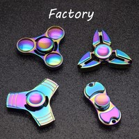 Red Copper Metal Tri Fidget Spinner Spring Toy Hand Spinners Anti Stress Toys Gift Man Finger