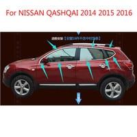 Para NISSAN QASHQAI 2014  2015 de 2016 de alta calidad de acero inoxidable embellecedor decorativo de ventana de coche accesorios para el coche Accesorios Estilo 16 Uds