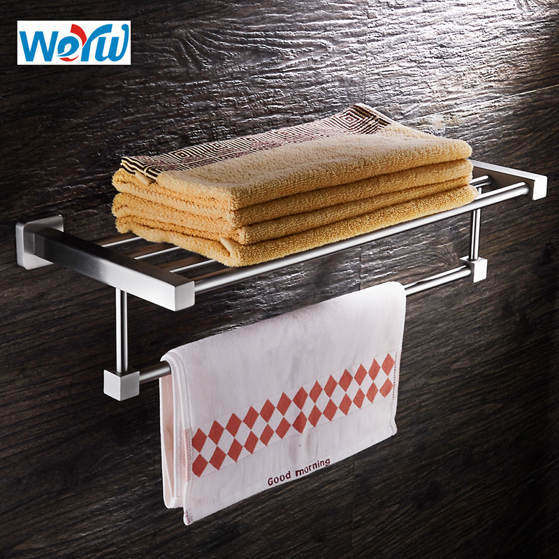 WEYUU Towel Rack SUS304 Stainless Steel Towel Shelf Wall mounted Bathroom Accessories Holder Wire drawing viborg deluxe sus304 stainless steel wall mounted bathroom towel rack shelf towel holder storage brushed