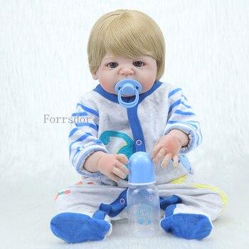 NEW 55CM Full Silicone Reborn Baby Doll Boy Toys 22inch NPK lifelike Baby Dolls Soft Vinyl Fashion Dolls Bebe Reborn Child Toys