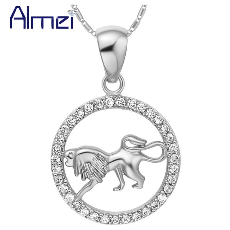 Almei Silber Farbe Halskette Konstellation Widder Taurus Gemini Krebs Leo Jungfrau Waage Skorpion Fische Halsband Frauen Schmuck N1048