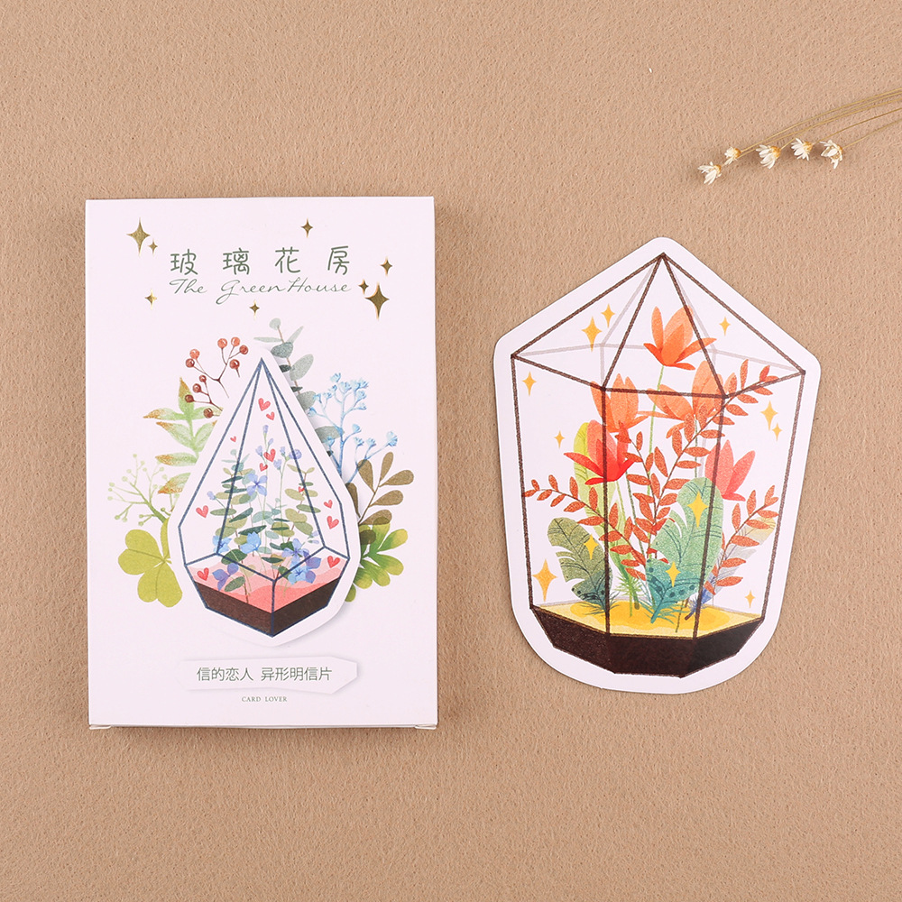 3 Set/1 Lot Retro Glass Flower Room Greeting Card Postcards Birthday Bussiness Gift Card Set Message Card W-KP-1006