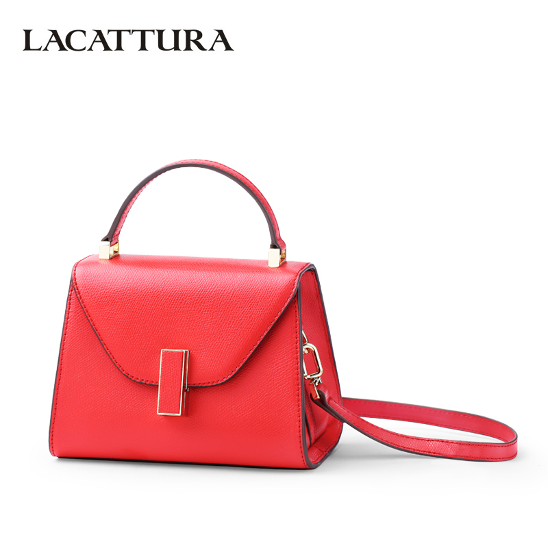 LACATTURA Luxury Handbag Women Totes Split leather Messenger Bag Designer Shoulder Bags Fashion Crossbody for Lady Two Size lacattura small bag women messenger bags split leather handbag lady tassels chain shoulder bag crossbody for girls summer colors