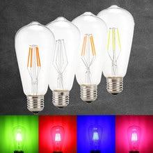Led Edison Filament Light ST64 COB LED Bulb Lamp E27 4W Retro Globe Replace Incandescent Blue Red Pink Green Color AC 220v