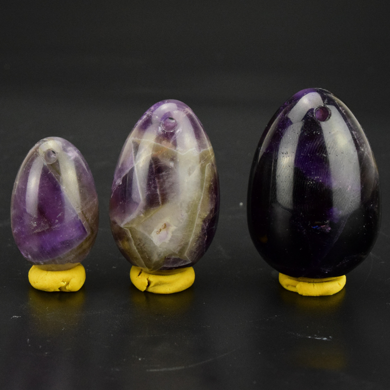 Loove Egg 3PCS Natural Drilled Voilet Amethyst Yoni Eggs for Pelvic Floor Muscles Vaginal Exercise Ben