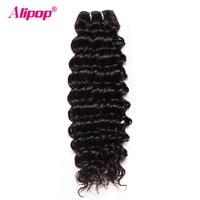 ALIPOP Derin Dalga Brezilyalı Saç Dokuma Paketler Remy İnsan Saç Paketler Çift Atkı Saç Uzatma 1 adet Doğal Siyah Renk