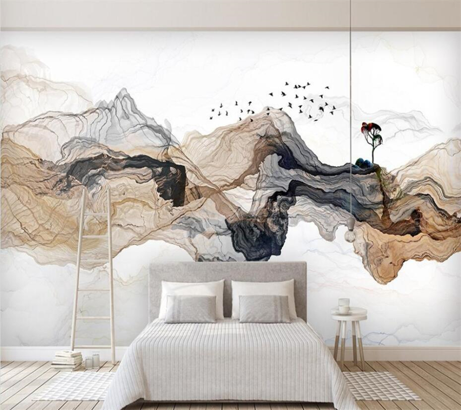 wellyu Custom Photo Wallpaper Abstract ink landscape TV background Wall Covering Living Room Bedroom Home Decor 3D wall paper image