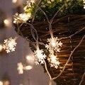6 м 40 светодиодов на батарейках светодиодная гирлянда Снежинка для дома  Рождественское украшение  праздничное освещение  Свадебная вечери...