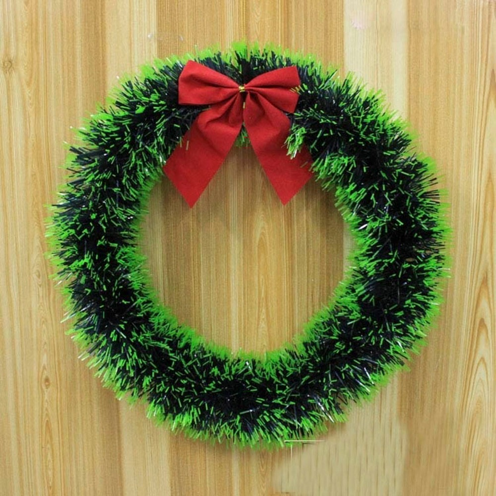 Christmas wreath ornaments - Christmas Wreath Bow Pine Needle Christmas Decoration For Home Party New Year Christmas Decoration Gift Ornaments