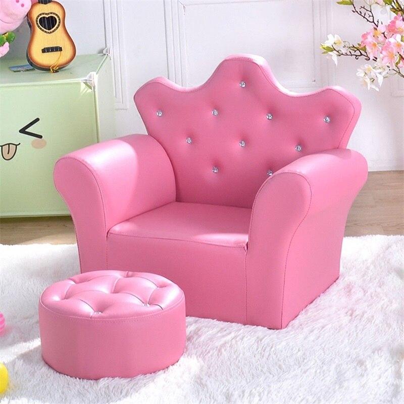 Rose enfants canapé accoudoir canapé avec pouf haute qualité enfants canapé ensemble salon meubles HW54194