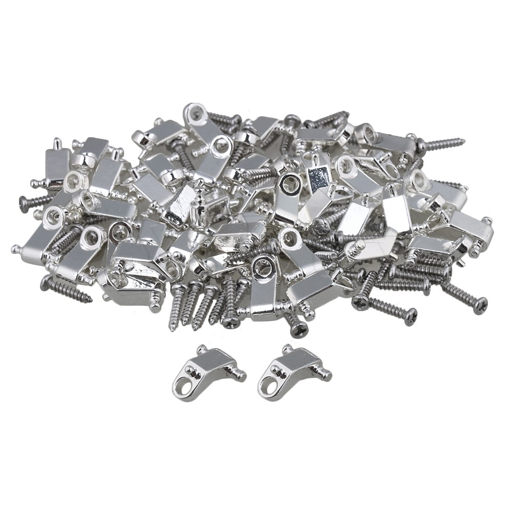 Yibuy Silver Copper Roller Electric Guitar String Tree Guides Retainer w//Screws Pack of 10