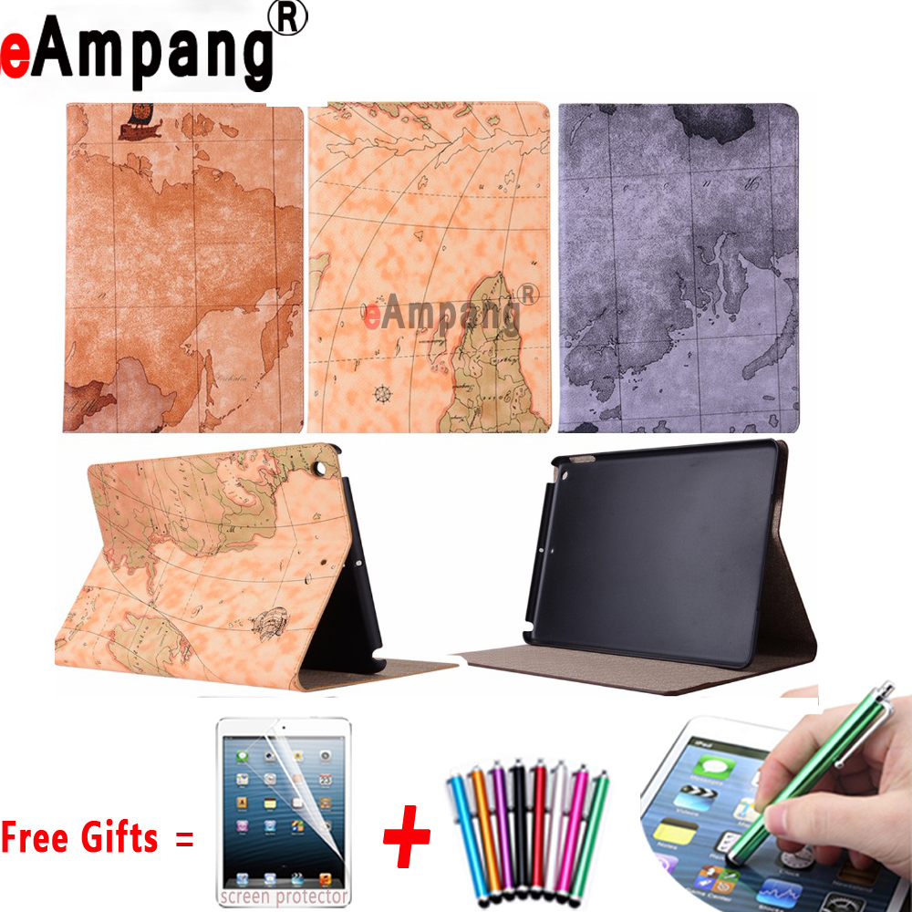 Slim Retro World Map Pattern Case with Stand Holder Cover for Apple iPad 2 3 4 9.7 inch Case Coque Capa Funda +Screen Film + Pen