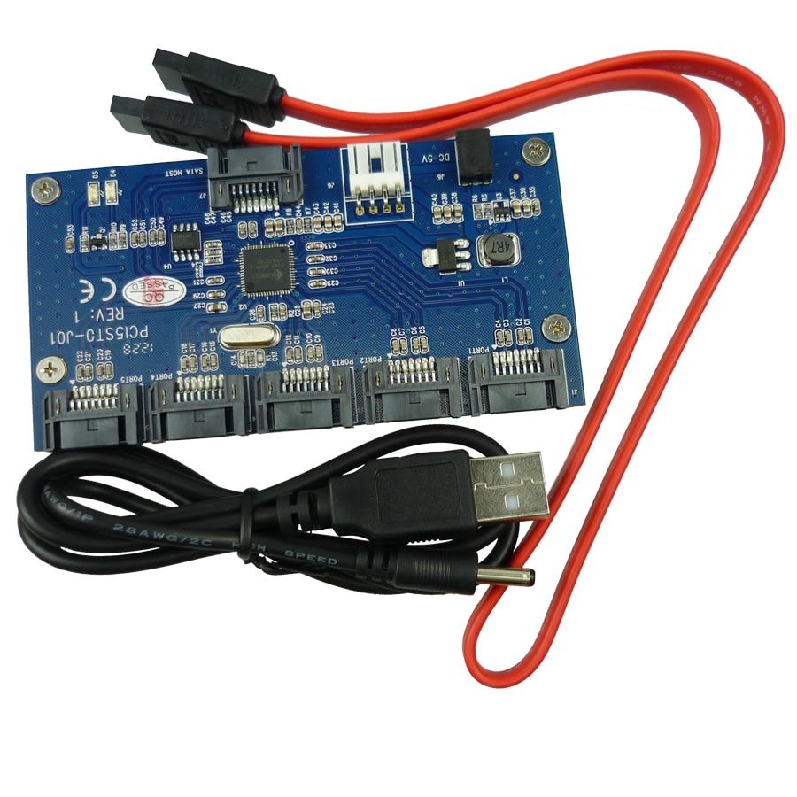 SATA Hard font b Disk b font Adapter Card Computer Motherboards 1 to 5 SATA Port
