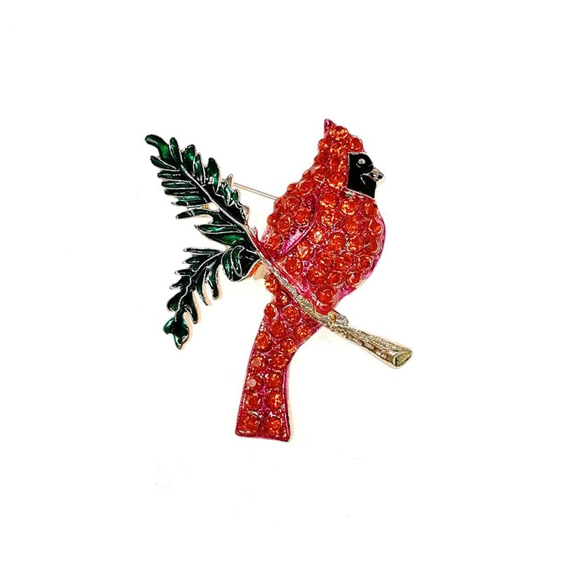 50pcs lot red crystal animal cardinal bird brooch