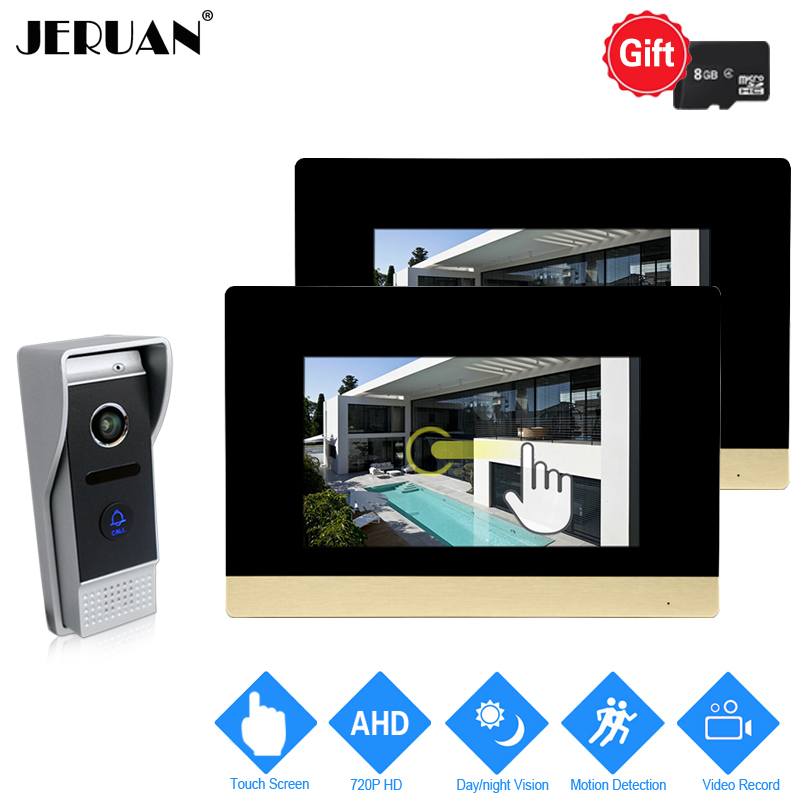 JERUAN 720P AHD Motion Detection 7 inch Touch Screen Video Door Phone Intercom System 2 Record Monitor +HD 110 degree Camera 1V2 jeruan 720p ahd hd motion detection 7 inch video door phone intercom system 3 record monitor 2 hd 110 degree 1 0mp camera 2v3