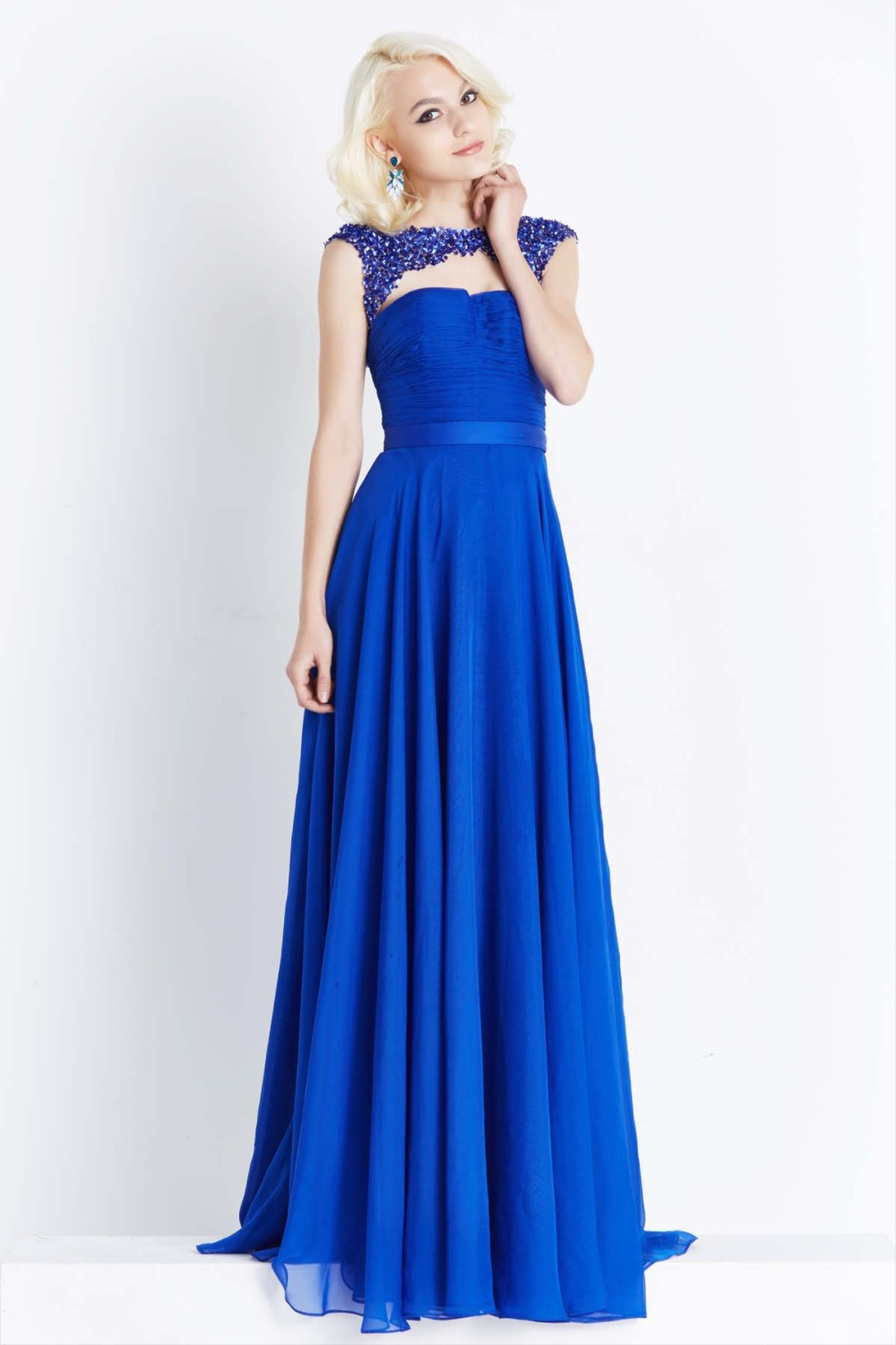 Royal Blue Long Sleeve Prom Dress