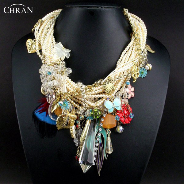 CHRAN Costume Brand Jewelry Charm Feather Crystal Accessories Gold Color Cross Faux Pearl Design Choker Necklace for Women
