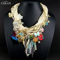 CHRAN Costume Brand Jewelry Charm Feather Crystal Accessories Gold Plated Cross Faux Pearl Design Choker Necklace