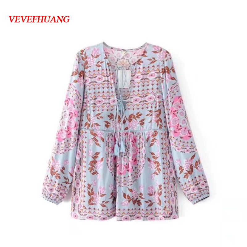 Summer Female Casual Classic Floral Print Shirt Long Sleeve Appliques Collar Blusas Vintage Chiffon Vestidos Bodycon Fit Wear