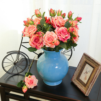 Artificial Flowers Latex Real Touch Rose Flowers Wedding Bouquet Home Party Fake Peony Flowers Decor Rose Party Supplies rose