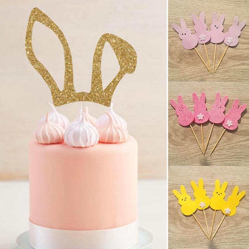 2019 Cute Rabbit Ears Cake Decoration Insert Card Happy ...