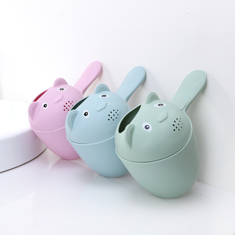 Cute Cartoon Baby Bath Caps Toddle Shampoo Cup Children Bathing Bailer Baby Shower Spoons Child Washing Hair Cup Kids Bath Tool