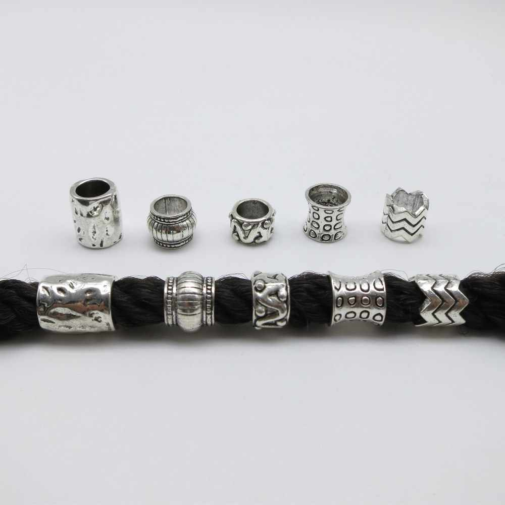 5 шт./упак. античное серебро разные 5 стилей большая оплетка для волос dread дредлок бусины кольца трубки аксессуары